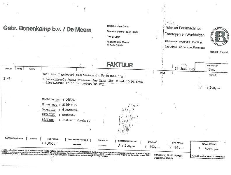 factuur 1975 Gebr Bonenkamp
